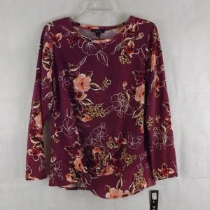 NWT Womens AGB Top - Purple/Floral - Sz LARGE